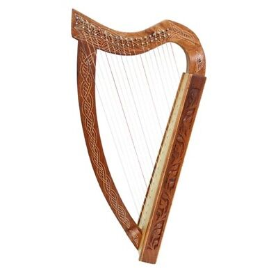 Pixie Harp 19 String Carved Rosewood Leaning with Bag