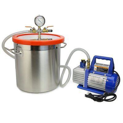 XtremepowerUS 4 CFM Single Stage Vacuum Pump 5 Gallons Chamber Kit Degass and