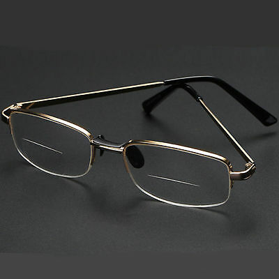 New Bifocal Reading Clear Glasses Men Women's Quality 1.25~4.00 Metal Frame