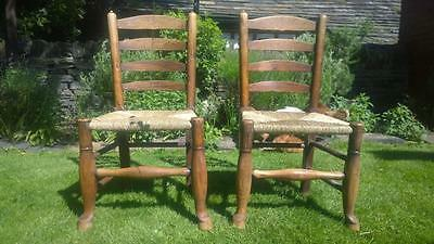 A Pair of Late 18th Century Turned Ash Rush Seated Backstools / Chairs