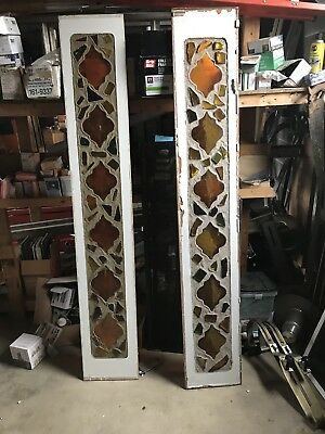 Pair of Custom Made Stained Glass Antique Panels