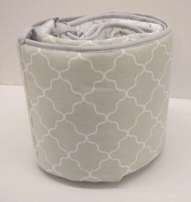 Happy Chic Baby (White and Grey Pattern) Traditional Padded Bumper- Sample