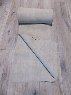 Antique Handwoven Hemp Fabric Raw Beige 4,4x0,6m 19thC Great condit. Never used