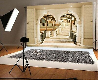 Vintage Palace Arch Door Stairs Background 9x6FT Studio Backdrops Art Fabric