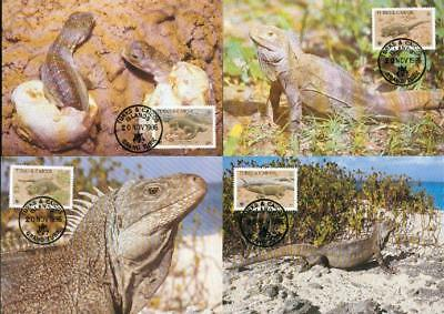 Turks & Caicos set 4 MC lizards Cyclura Leguan WWF eh32