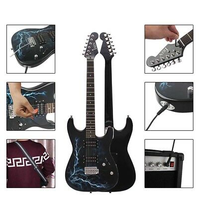 Dual Pickups Electric Guitar Basswood Body Cool Design with Gig Bag Strap B C9W4