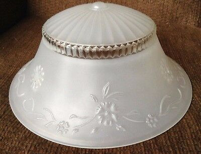 VTG 3-Hole-Chain HANGING Ceiling Light Fixture Glass Shade Clear Frosted Flowers