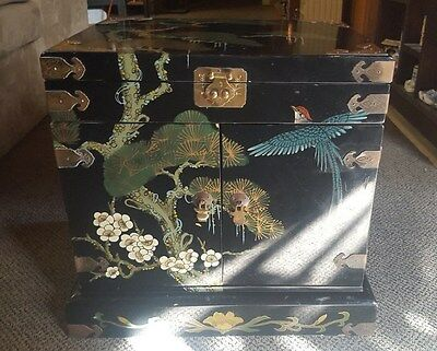 """Vintage """"lacquer Ware Hand Painted Jewelry Cabinet Storage Box Chest"""""""