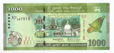 Ceylon Sri Lanka NEW ISSUE Rs 1000 Note 70th Independence Day 2018 Commemorativ