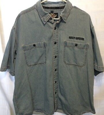 Men's Harley Davidson Button Up Denim Shirt Embroidered Spell Out Size XL