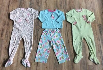88431fcb8284 LOT OF 3 Toddler Girls Sleepers Carter s Size 4T EUC! -  29.99 ...