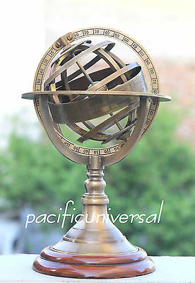 "Handmade Solid Brass Sphere World Globe Armillary 8"" WOOD BASE NAUTICAL GITF ITE"