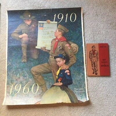 Boy Scout Poster Grant Wood 1910-60 Pledge 1958 Dairy Merit Badge Series Book