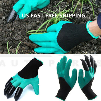 US Ship Garden Gloves w/t 4 Plastic Clows for Digging Planting Gardening Tool