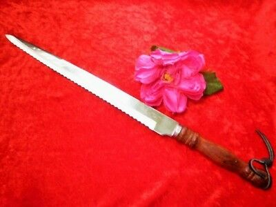 Vintage Carving Knife 41Cm Bread Serrated Stainless Steel Wooden Handle Taiwan