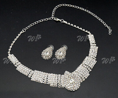 White Party Wedding Bridal Diamante Crystal Earrings Necklace Set Jewelry