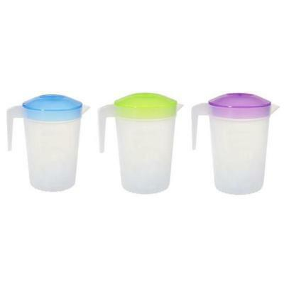 3pcs Plastic Water Jug Set with White Lid 2L Water Pitcher For Fridge BPA FREE
