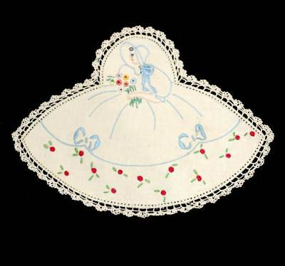 Vintage cute embroidered crinoline lady flowers doily measuring 26cm