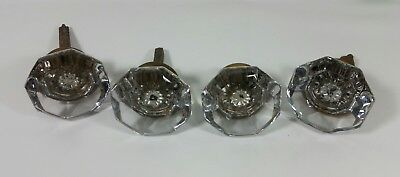 Lot of 4x Vintage Antique Crystal Glass Single Door Knobs Hardware