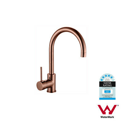 Round ROSE GOLD Gooseneck Lollipop Swivel Mid Rise PVD Electroplated Sink Mixer