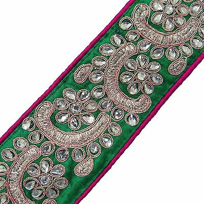 Designer Royal Trim Apparel Floral Lace Sewing Green Embroidered Fabric Tape 1Yd