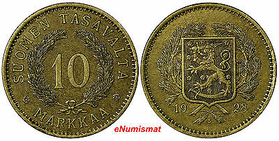 Finland 1928-S 10 Markkaa 1st Year Type SCARCE KEY DATE XF Condition KM# 32A