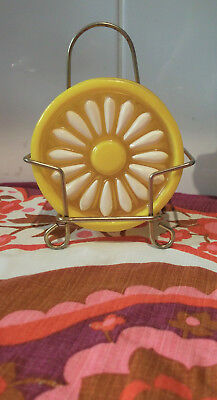 Vintage retro Yellow/ white Daisy Crystal Craft 6 x Coaster Set With Stand