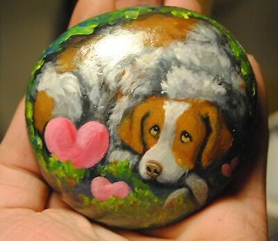 Original Painting~Brittany Spaniel~Hand Painted~SToNE~RoCK~Whimsical~Valentine