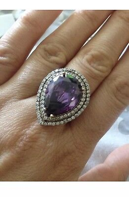 Antique Vintage Silver 925 Amethyst Ring (10g)