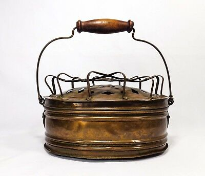 Late 19Th C. Victorian Brass Grill Top Carriage Foot Warmer, W/wood/wire Handle