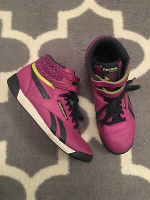 66977a1dc91 Vtg Reebok Classic Freestyle Purple lime green navy high Top Sneakers wom  sz 8