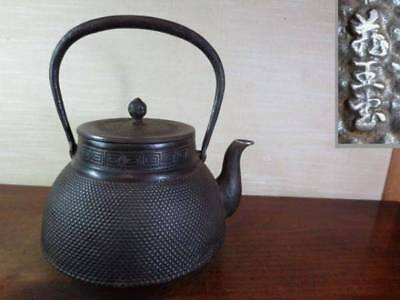 Japanese Antique KANJI old Iron Tea Kettle Tetsubin teapot Chagama 2310