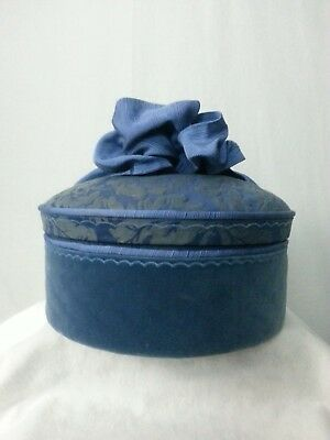 Vtg Round Hat Box Storage Blue Tapestry Floral Cushioned Lining Ribbon on Lid