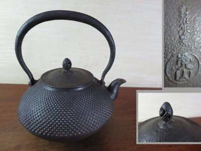 Japanese Antique KANJI old Iron Tea Kettle Tetsubin teapot Chagama 2312