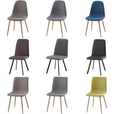 2/4 Retro Dining Chairs Set PU Leather/Fabric Kitchen Lounge Office Bistro Table