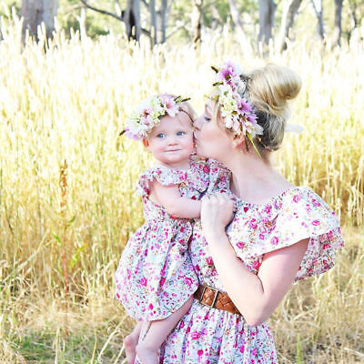Mother&Daughter Dresses Striped Matching Mom Girls Maxi Dress Family Clothes