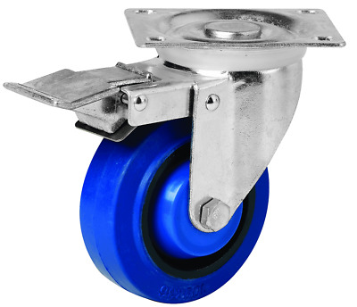 EHI SWIVEL & BRAKE PLATE CASTOR 100mm Elastic Rubber Wheels, 140kg Capacity BLUE