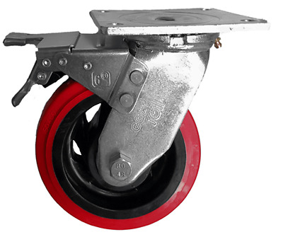 EHI SWIVEL & BRAKE PLATE CASTOR 150mm Nylon Wheels With Urethane, 410kg Capacity
