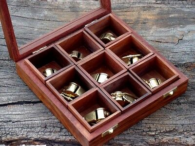 Nautical Brass Beautiful Scout Whistle Key Chain With Wooden Box Lot Of 9 pcs..