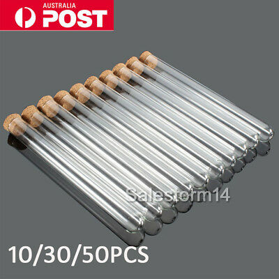20ML Volume 10/50x Plastic Test Tubes With Cork Stopper Candy Party Wedding AU