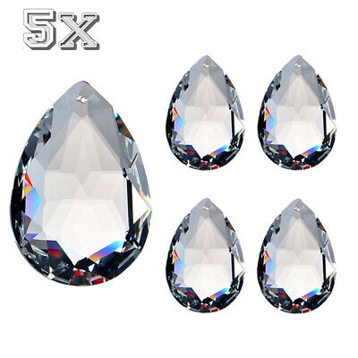 5x 50mm Clear Chandelier Glass Crystals Lamp Prisms Parts Hanging Drops Pendants