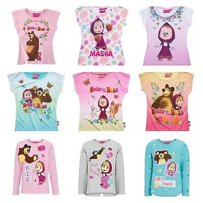 Girls Children Masha and the Bear Short Long Sleeve Tee Tshirt Top Age 2-9 yrs