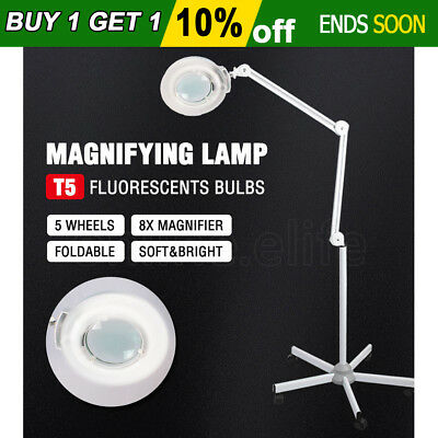 Magnifying Lamp Light Glass Lens Beauty Round Head 8x Magnifier 5 Wheels Stand