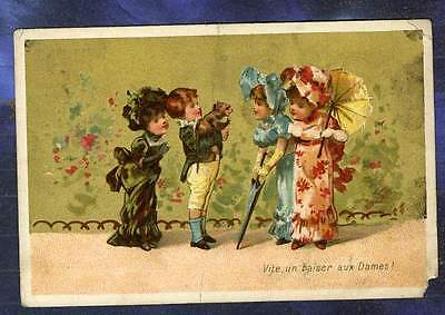 Chromo Au BON MARCHE bm75 Trade Card Singe Monkey Dressage Testu Dog Training