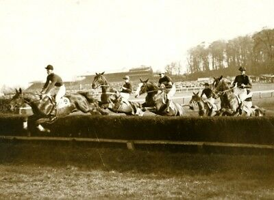 Gold Cup Day Sandown Horse Jumping Saut d'obstacles equitation old Photo 1930's