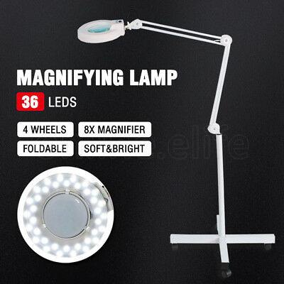 Magnifying Lamp Glass Lens Beauty 32 LED Illuminated Light 8x Magnifier Stand AU