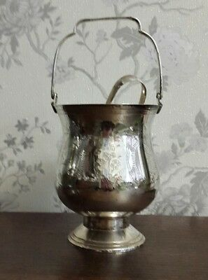 A Vintage Silver Plated Ice Bucket with Claw Tongs