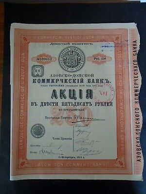 Russie-Lot 6 Titres-Banque Azoff Don-Action 250 Rbls-1911