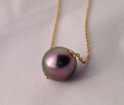 Free Shipping! 10.2mm AAA Tahitian South Sea Pearl floating on a 9k Gold Chain