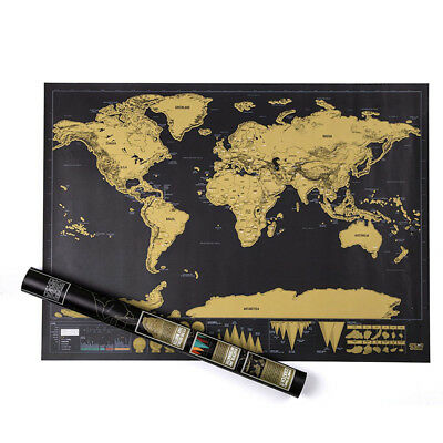 Travel Edition Scratch World Map Poster Wallpaper Personalized Journal Log